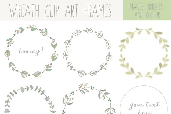 Wreath clipart hand drawn Laurel Clip Illustrations ~ Market