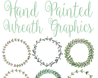 Wreath clipart hand drawn Hand High 600dpi / Drawn