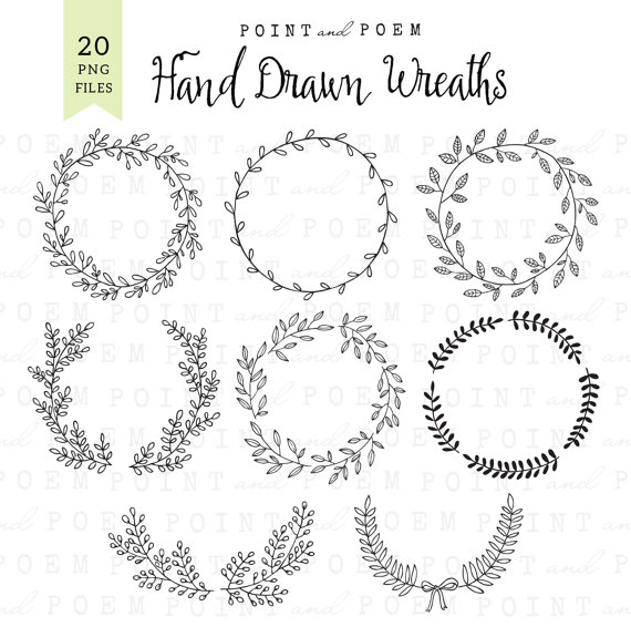 Wreath clipart hand drawn Clip chalkboard laurel rustic clipart