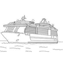 Drawn yacht cruise ship Coloring for  Pier boat