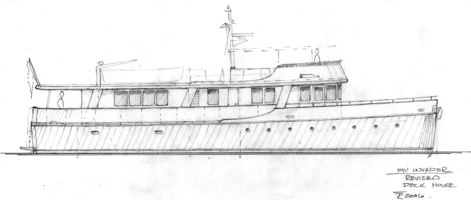 Drawn yacht cruise ship Redesign Tad Yacht Design and