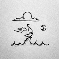Drawn yacht cute Boat drawings #doodle little Boating