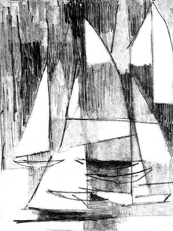 Drawn yacht early 171 a of regatta sailboat
