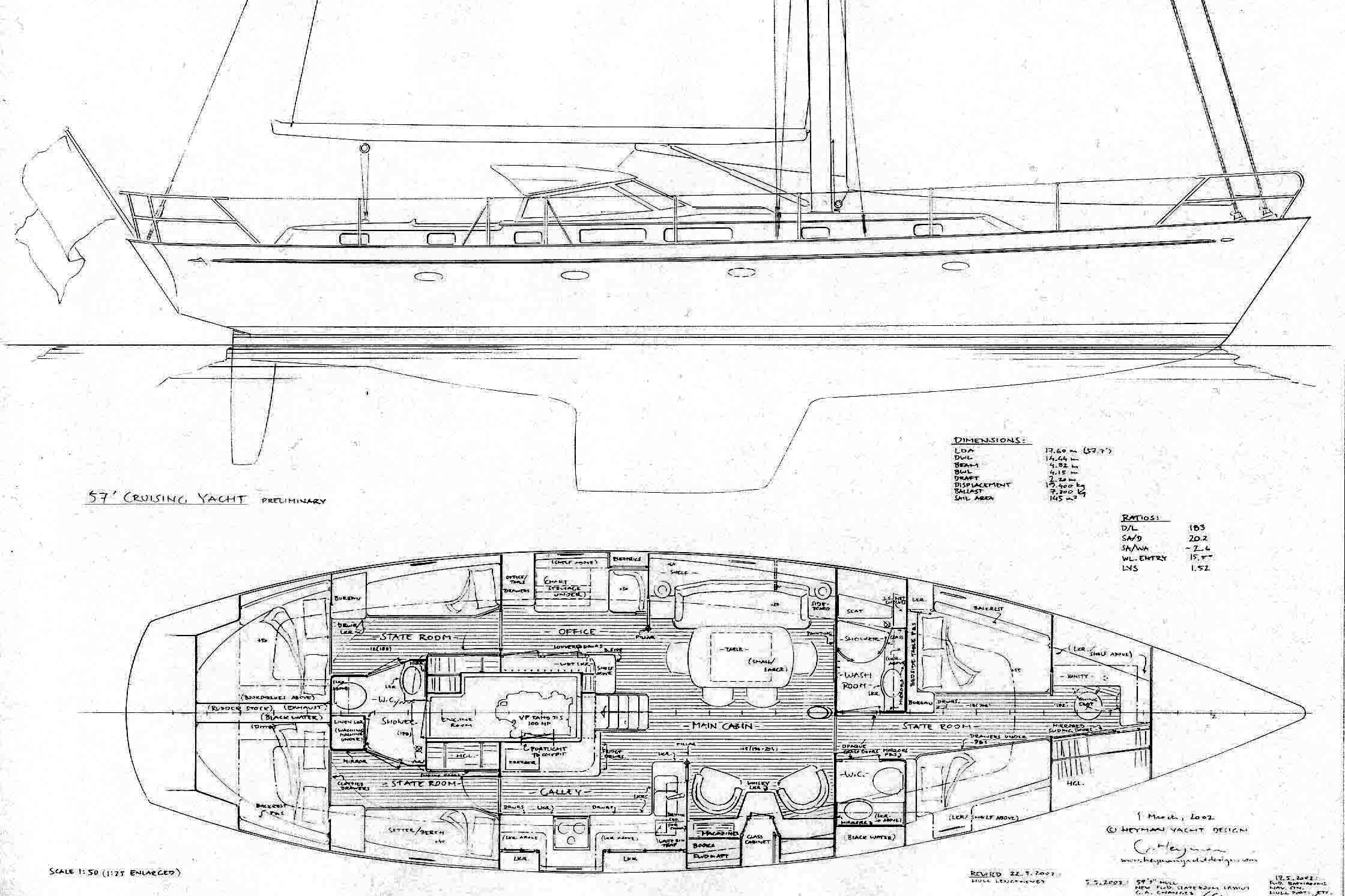 Drawn yacht early Yachts early 57' drawn hand
