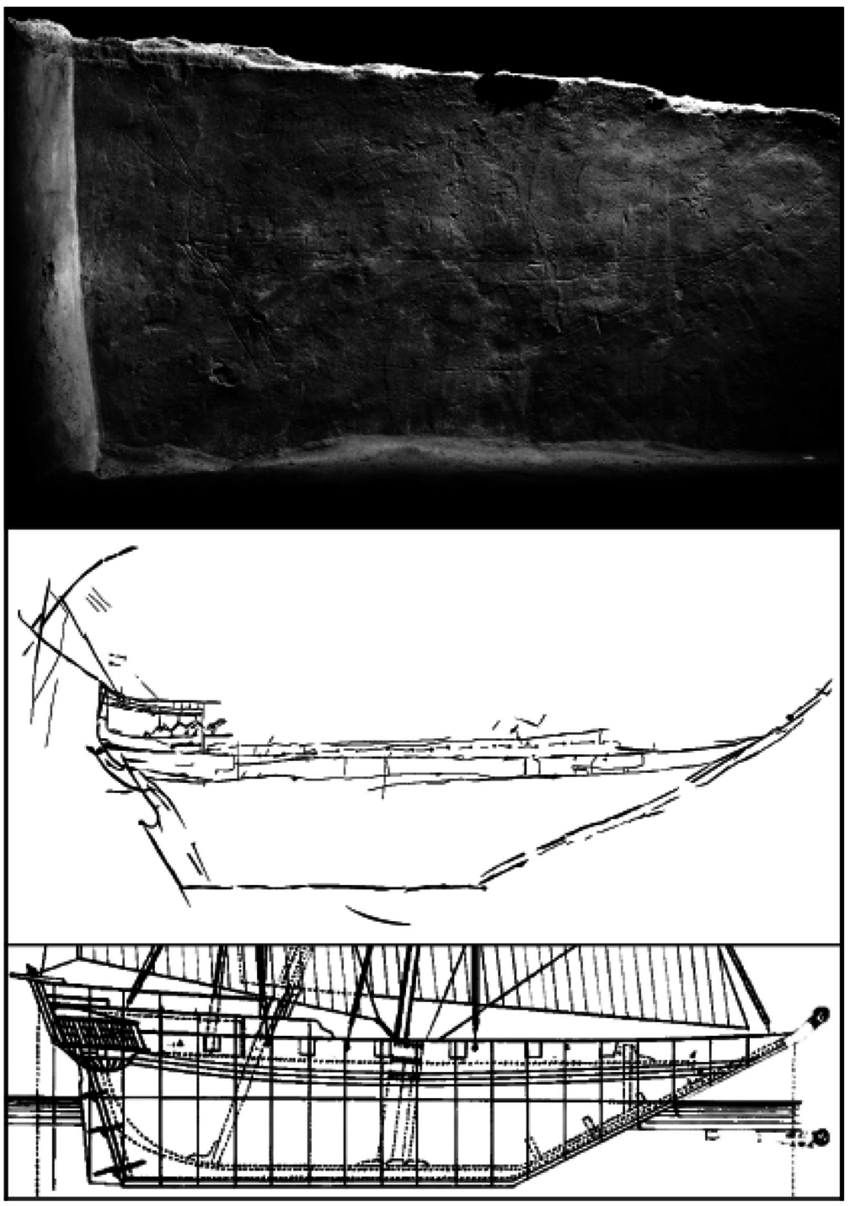 Drawn ship ukg Zubārah (top) ZUEP01 and graffito