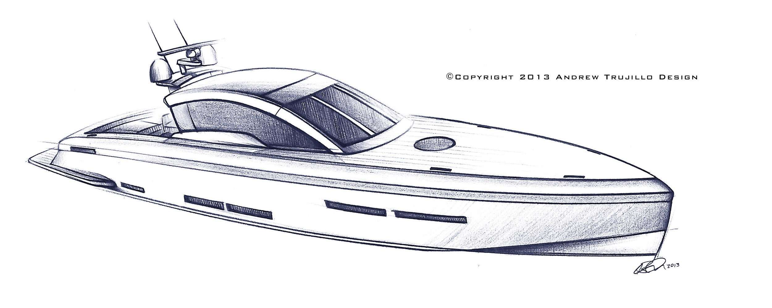 Drawn yacht motor boat Design Aircraft Yacht 25 Andrew