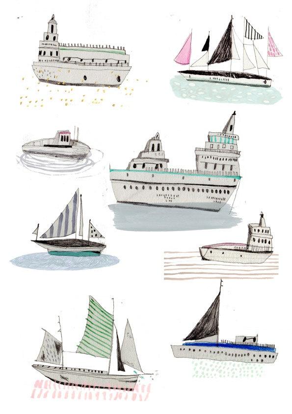 Drawn yacht nautical ship Prints Pinterest illustration Limited edition