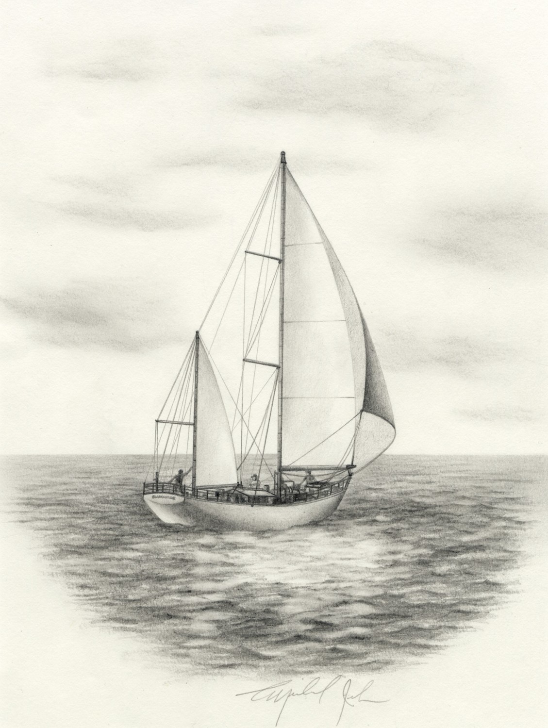 Drawn sailing Drawing yacht full Google sails