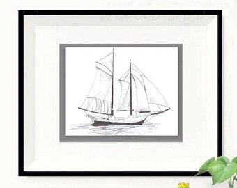 Drawn yacht printable Boat illustration print drawing Sailboat
