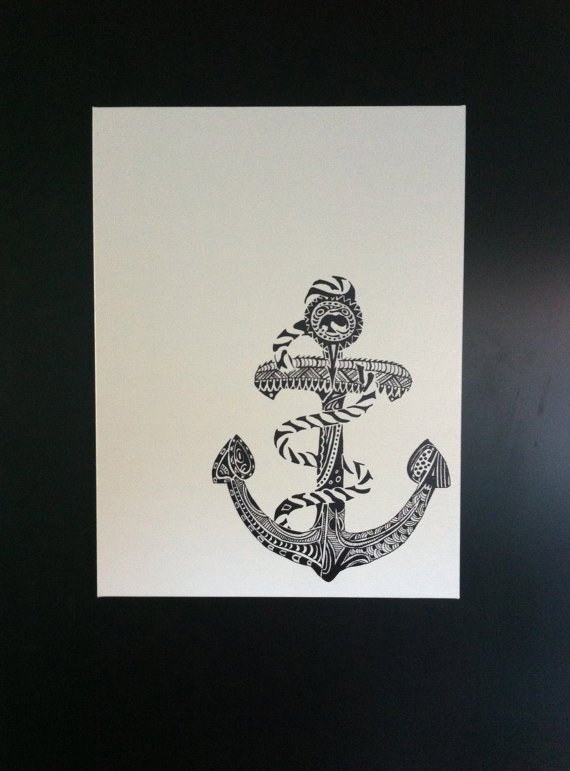 Drawn yacht printable Black ink drawn hand from