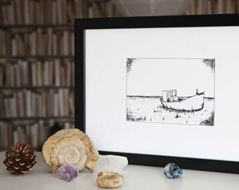 Drawn yacht printable Illustration // Art drawing Boat