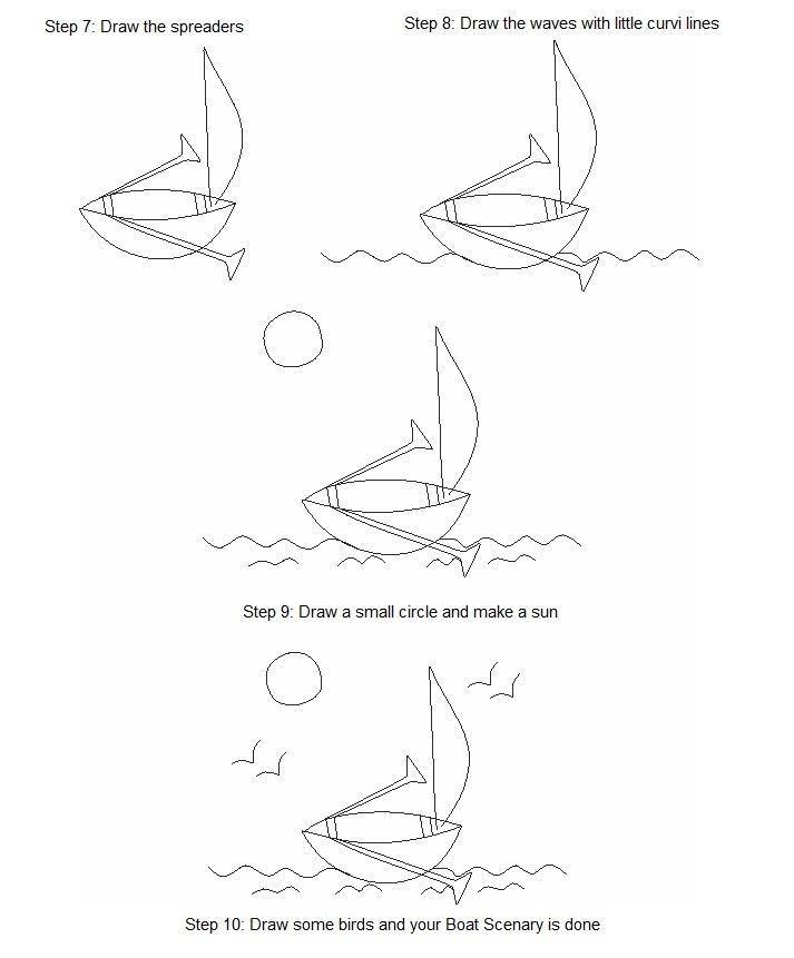 Drawn yacht scenery Draw Page How of boat