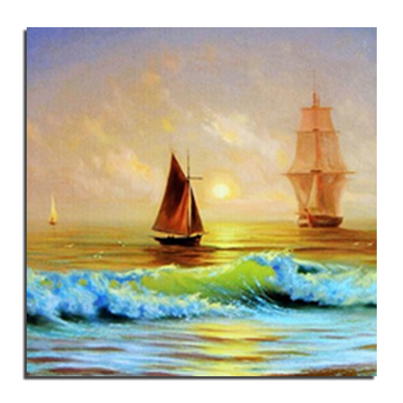 Drawn yacht scenery Decoration( 30x30 Buy embroidery Crafts