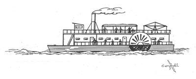 Drawn yacht steamboat The Campbell's Jenny Disaster detail