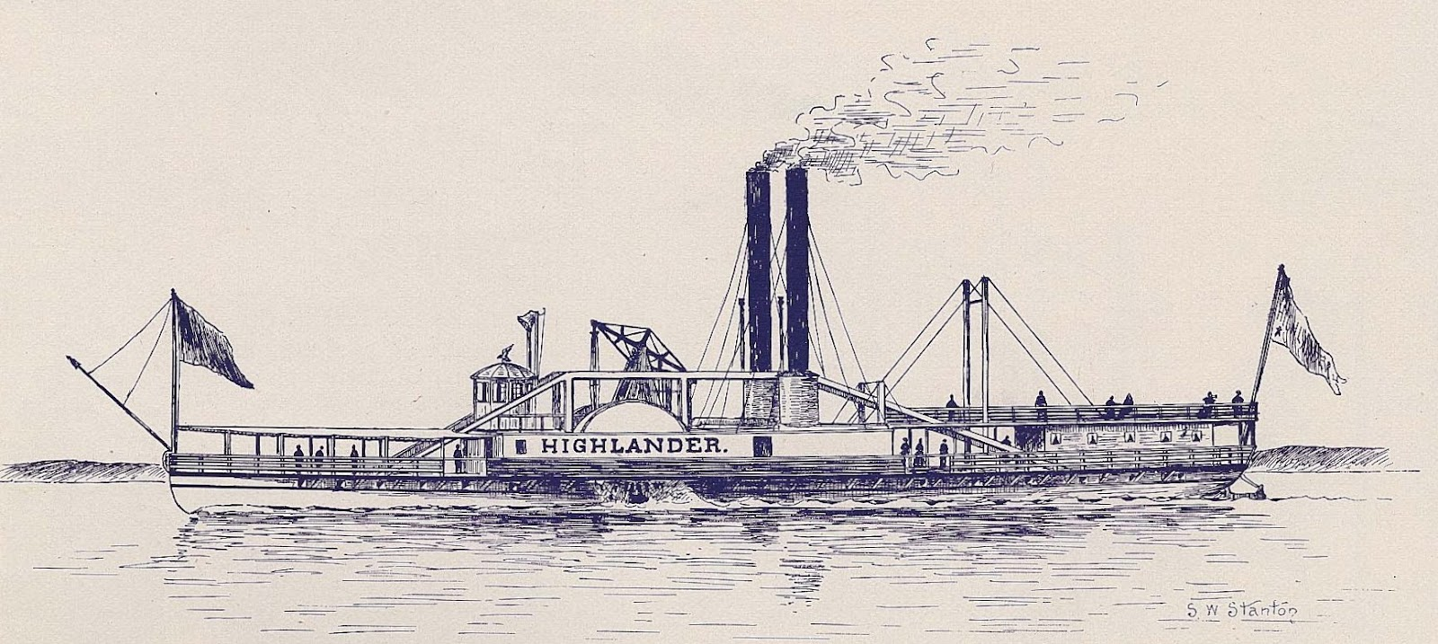 Drawn yacht steamboat Of the Ward as Hudson