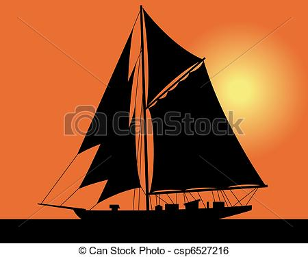 Drawn yacht the sea clipart  the silhouette of a