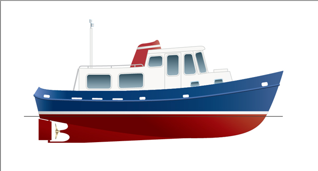 Drawn yacht tugboat 33 Boat Practical 33 Test: