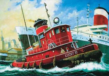 Drawn yacht tugboat Waterline tug on  Drawing