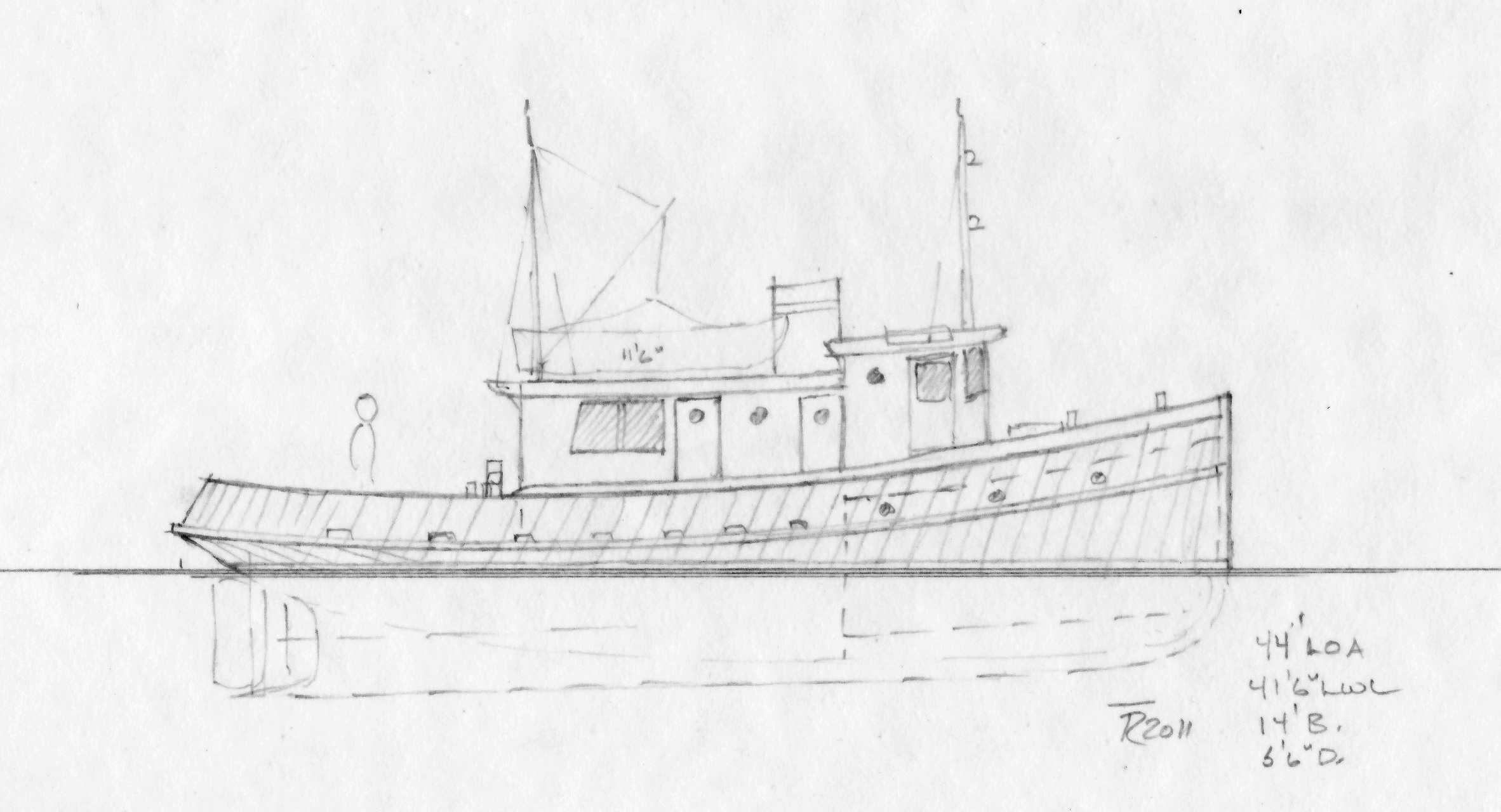 Drawn yacht tugboat A and log a a