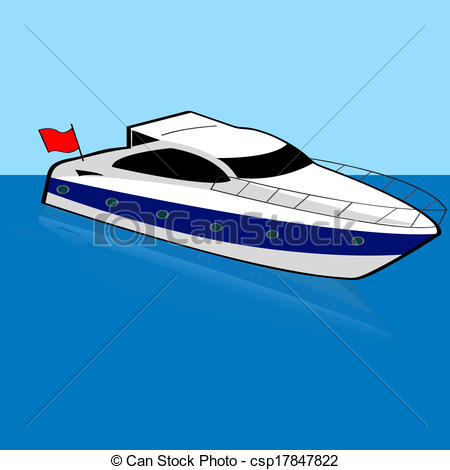 Yacht clipart speed boat Cartoon boat of a Illustration
