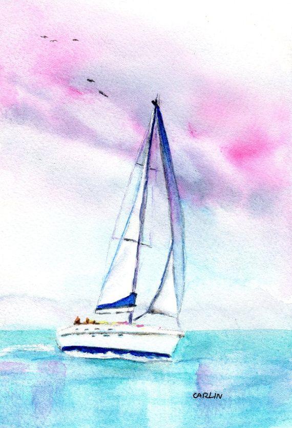 Drawn sailboat painted Blahnik Pinterest Carlin Sunset on
