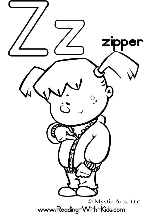 Drawn zipper coloring Images Coloring Z sheets Letter