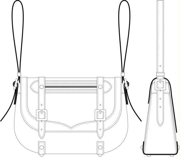 Drawn purse Technical Scale a handbag leather