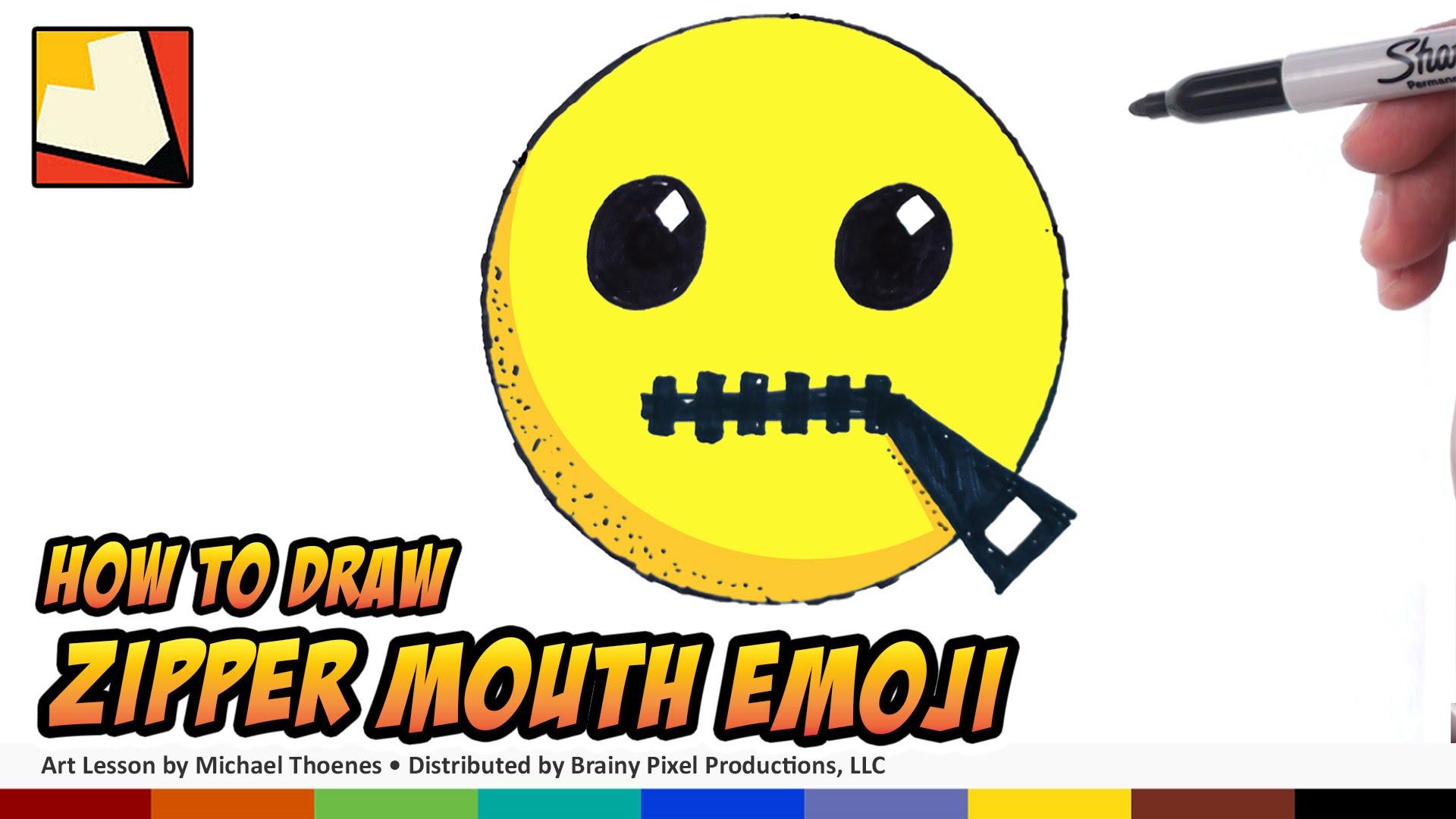 Drawn zipper zipper mouth By Emoji to How Step