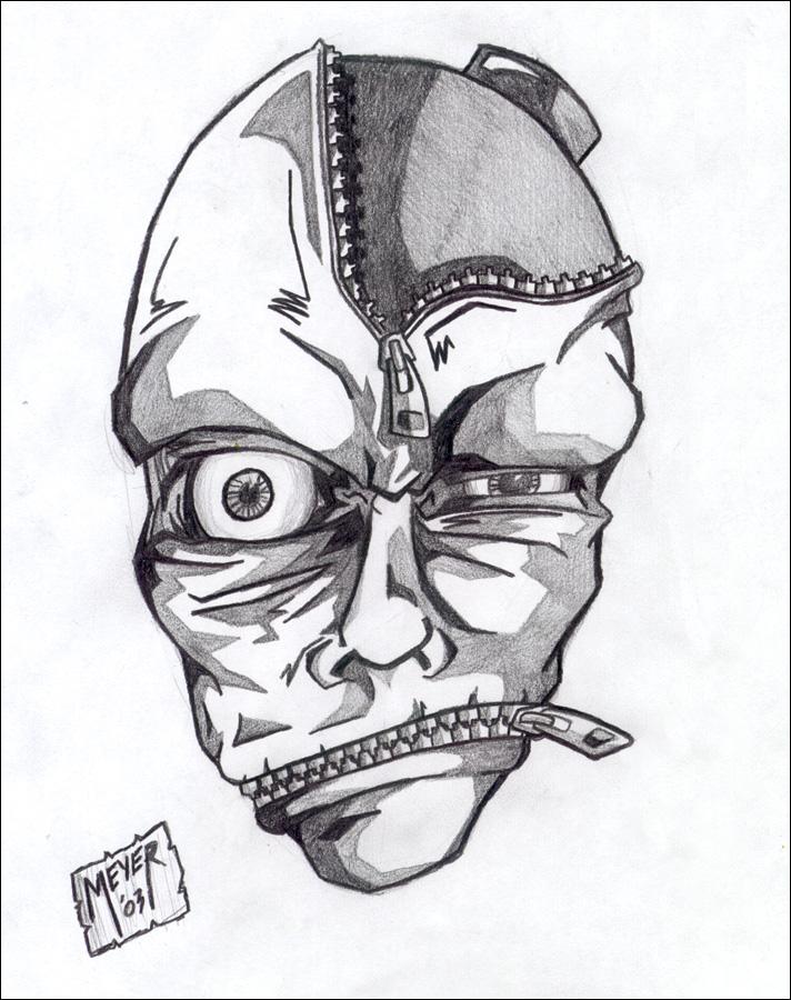 Drawn zipper zipper mouth By head Zipper by on