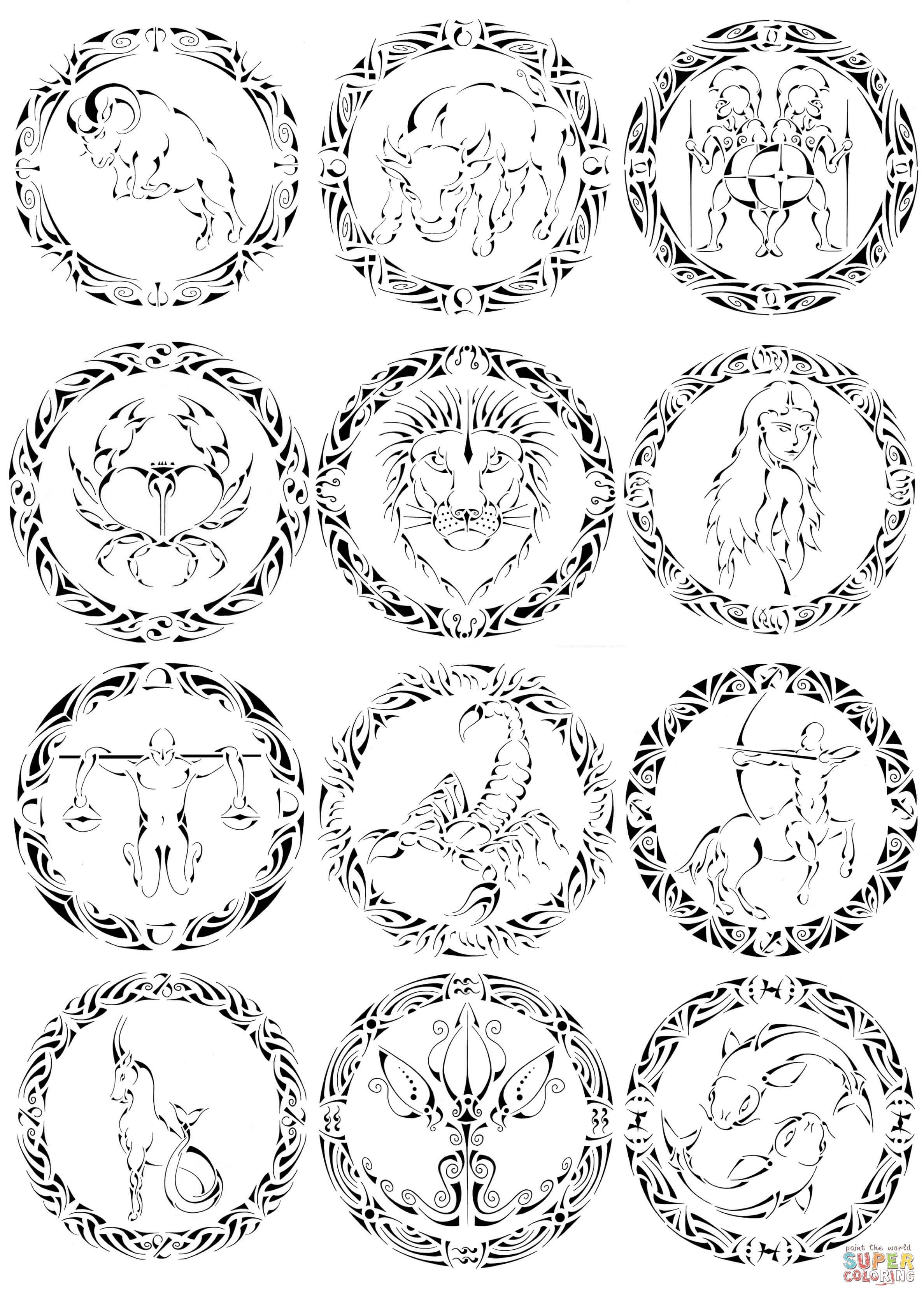 Zodiac clipart their color Pages Coloring Pages pages Coloring