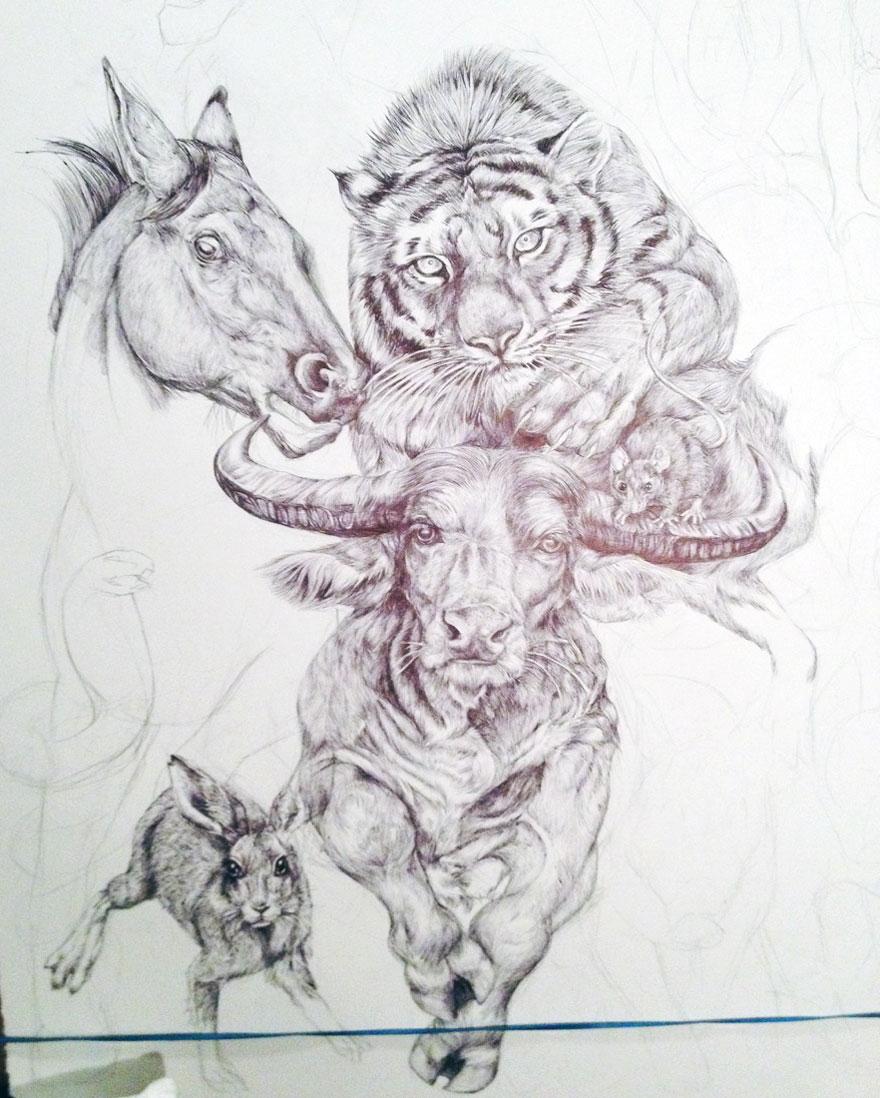 Drawn zodiac night drawing #1
