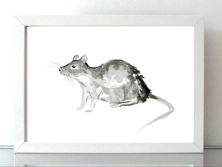 Drawn rodent watercolour Year painting drawing Ink giclee