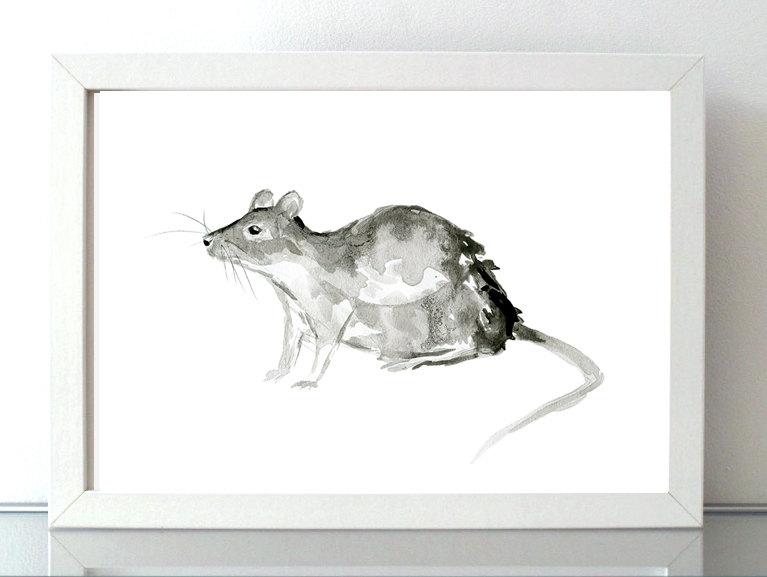 Drawn rat chinese year Year Rat Watercolor Animal Painting