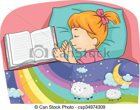 Dreaming clipart boy sleeping Girl Dreaming Kid Vector csp34974309