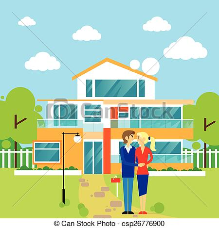Hosue clipart dream house Front couple Vector new of