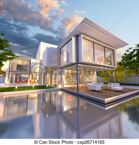 Villa clipart house background  3D dream dream rendering