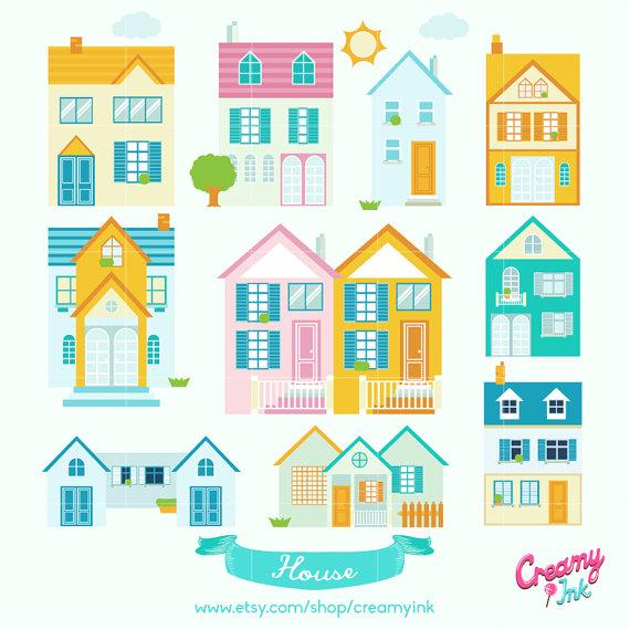 Hosue clipart dream house Vector Neighborhood  House Digital