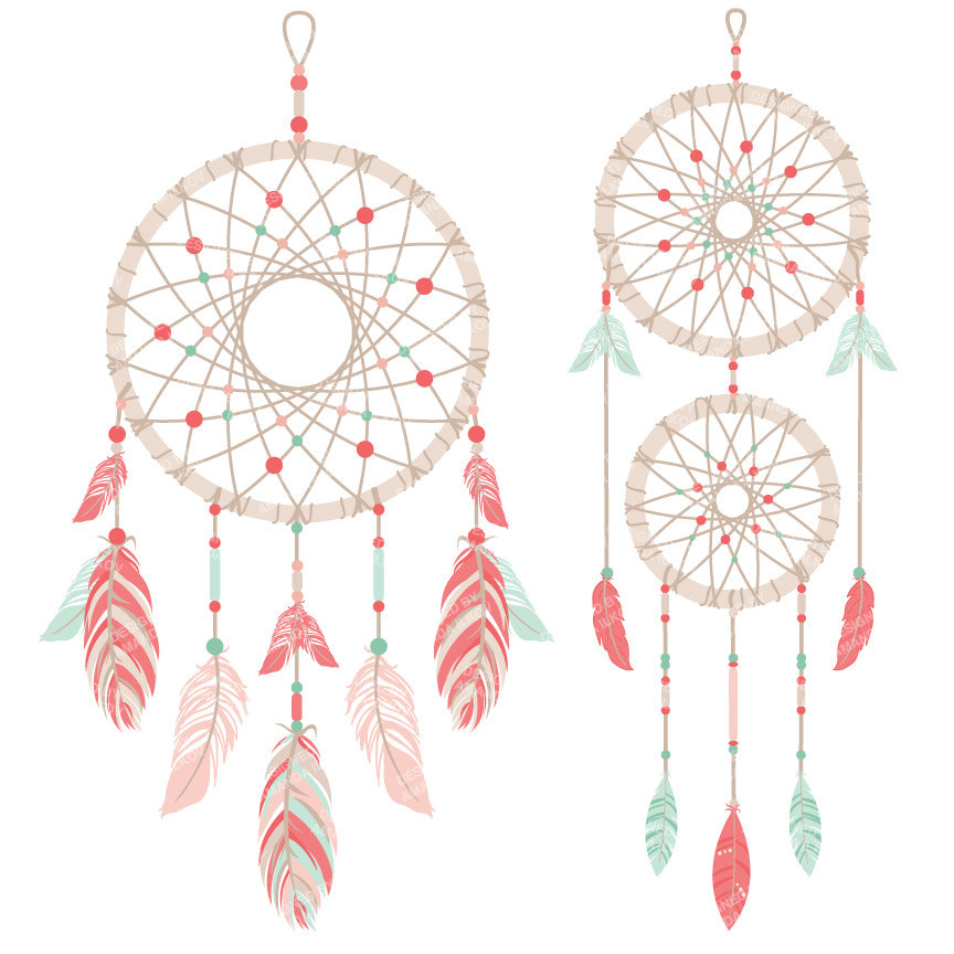 Dreamcatcher clipart basic And file & Coral digital
