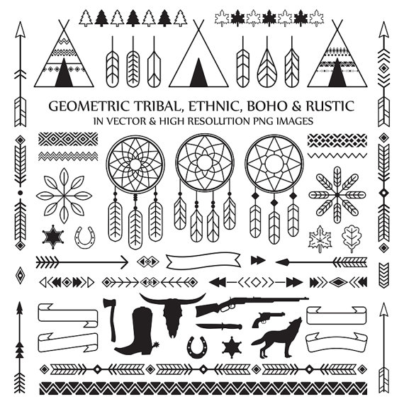Dreamcatcher clipart geometric Line Digital Line Rustic Arrow