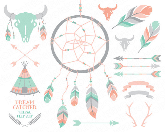 Dreamcatcher clipart pink Teepee pale antlers arrows from