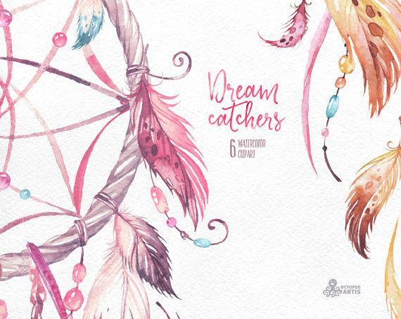 Dreamcatcher clipart pink Item? feathers Watercolor this Dreamcatchers