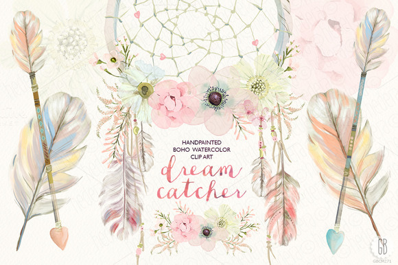 Dreamcatcher clipart pink Dreamcatcher floral Creative Watercolor by
