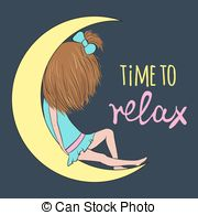 Dreaming clipart night time Vector night dreaming sleep relax
