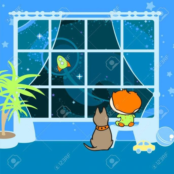 Dreaming clipart night time Window:window Clipart Boy Shutterstock Stock