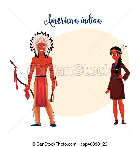 Dress clipart american traditional Couple dress of Native in