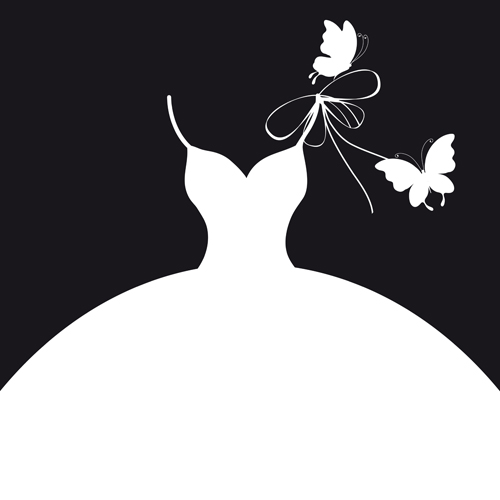 Gown clipart wedding suit Collection wedding Beautiful clipart silhouette