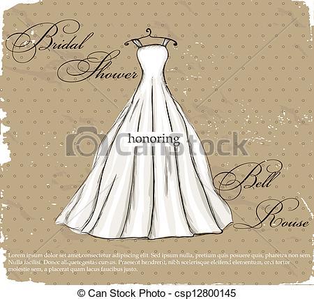 Drawn wedding dress vintage dress With Vector EPS wedding dress