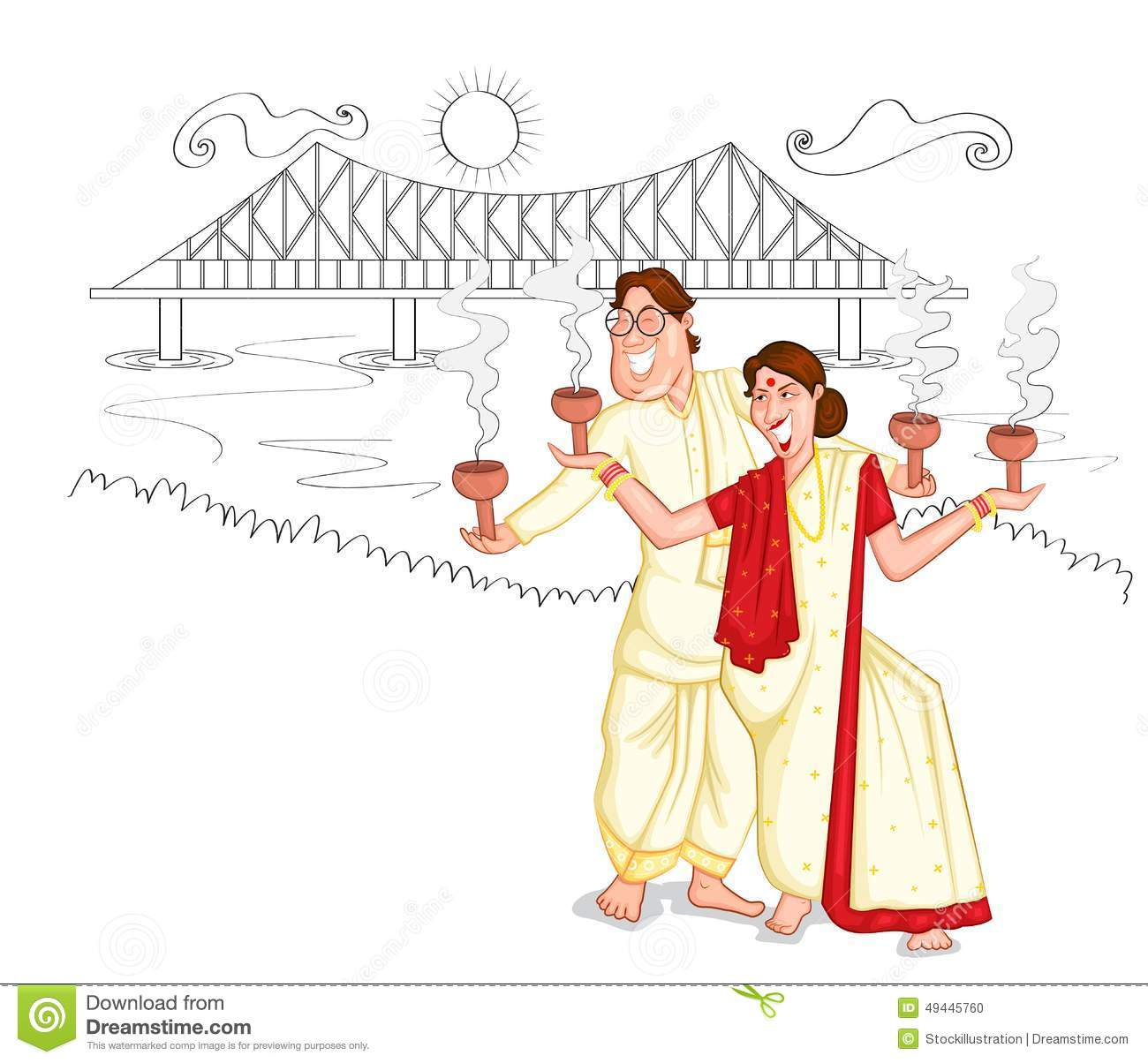 National Dress clipart bengali #15
