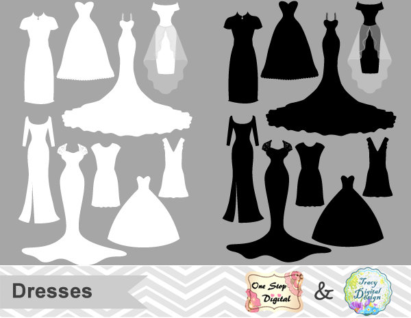 Traditional clipart prom Wedding Clipart Silhouette Nightgown Dress