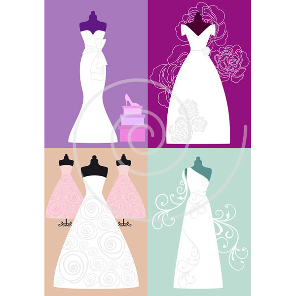 Dress clipart bridal shower Wedding art dresses bride set